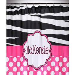 Hot Pink 'n Zebra Personalized Shower Curtain