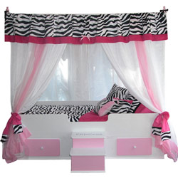 Pink Zebra Princess Canopy Bed