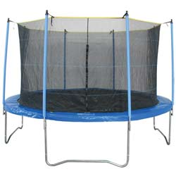 The Ultimate in Safety and Fun Safe and sturdy this Trampoline Combo Set will awaken the fun loving nature in you and your kids  What makes this trampoline and enclosure set a fantastic buy is the high bounce springs galvanized steel frame and UV resistant jump mat and mesh fabric enclosure  The zipper closure means no opening to avoid while jumping giving the jumper more flexibility and bounce range So get out and have some jumping fun  Recommended Weight: 220lb 60 High Bounce Springs Stable no-weld construction UV resistant polypro jump mat for maximum performance UV resistant mesh fabric enclosure Easy-entry zipper closure means no opening to avoid while jumping ASTM TUVGS and CE Certified