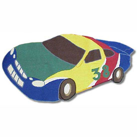 Patch Magic Group Race Car Shaped Rug