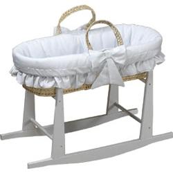 Baby Doll Satin Trim Pique Moses Basket
