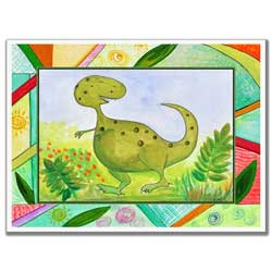 Colorful Dinosaurs Artwork-Green
