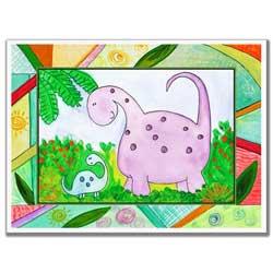 Colorful Dinosaurs Artwork-Purple