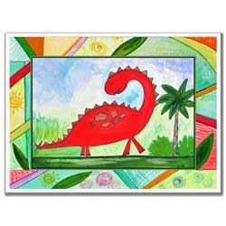 Colorful Dinosaurs Artwork-Red