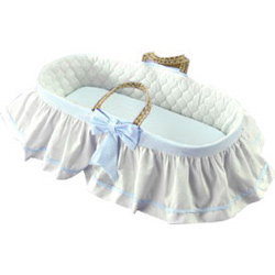 Baby Doll Skirted Gingham Moses Basket