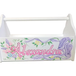 Personalized Floral Ballerina Toy Caddy