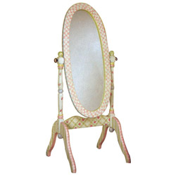 Teamson Pink Crackle Finish Standing Mirror