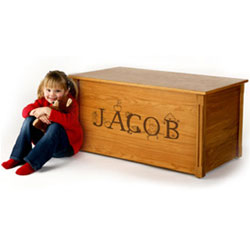 Personalized Oak Toybox with Laser Engraved Letters