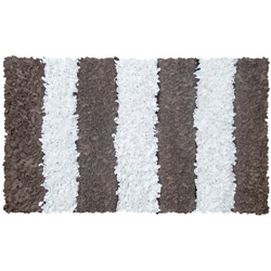 Brown Striped Shaggy Raggy Rug