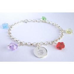 Swarovski Flower Crystal Initial Bracelet