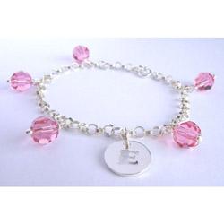 Pink Swarovski Crystal Initial Bracelet