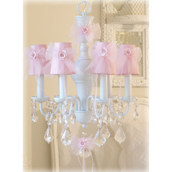 Pink Tulle 6 Light Chandelier