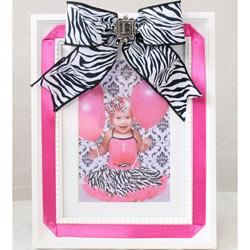 Zebra Bow Picture Frame