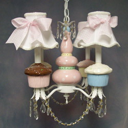Frosted Cupcake 4 Arm Chandelier