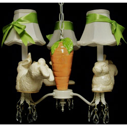 Bunny's Carrot Garden 3 Arm Chandelier