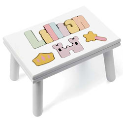 Personalized Princess Puzzle Stool