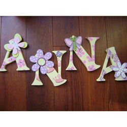 Fun and Feminine Add that personalized touch with these delightfully feminine wall letters Fun artistic techniques were used on each letter to create a unique look that both you and your daughter can treasure for years These adorable letters are handpainted in soft pastel colors decorated with flowers butterflies or crowns with pop up flower or butterfly to add a fun dimension All a girl could want  Accents butterfliesflowers may differ slightly from the samples shown Available in uppercase letters only