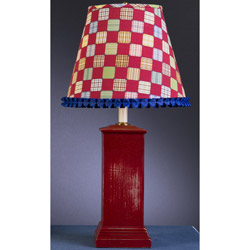 Aged Red Square Column Lamp