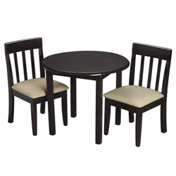 Childrens Round Table and Upholstered Slat Chair Set