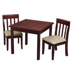 Childrens Square Table and Upholstered Slat Chair Set