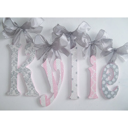 Pink and Gray Glitter Wall Letters