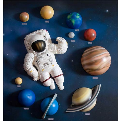 Baby furniture bedding 3d solar system wall art decor for Decoration 3d sol