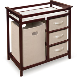 Modern Changing Table with 3 Baskets and Hamper