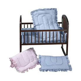 Gingham Portable Crib Set