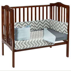 Minky Chevron Portable Crib Bedding Set