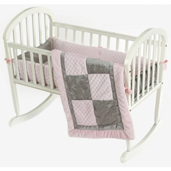 Gray Crocodile Minky Cradle Bedding Set