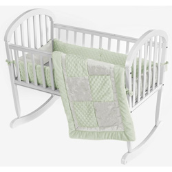 Ivory Crocodile Minky Cradle Bedding Set