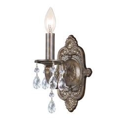 Majestic Wood Polished Crystal Sconce