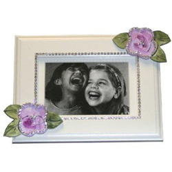 Bling White Picture Frame with Flowers