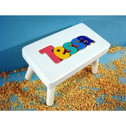 Personalized Wooden Name Puzzle Stool