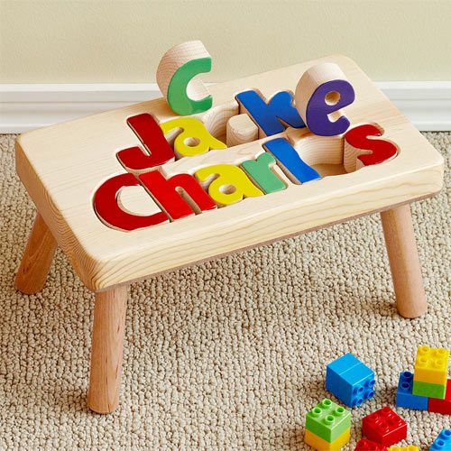 Personalized Wooden Name Puzzle Stool For Kids And