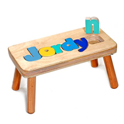 Enjoyable Personalized Wooden 1 Name Puzzle Stool Ncnpc Chair Design For Home Ncnpcorg