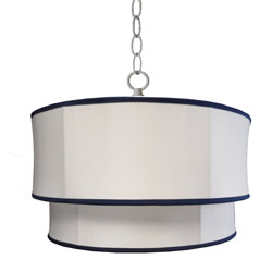 White Pique Double Drum Pendant