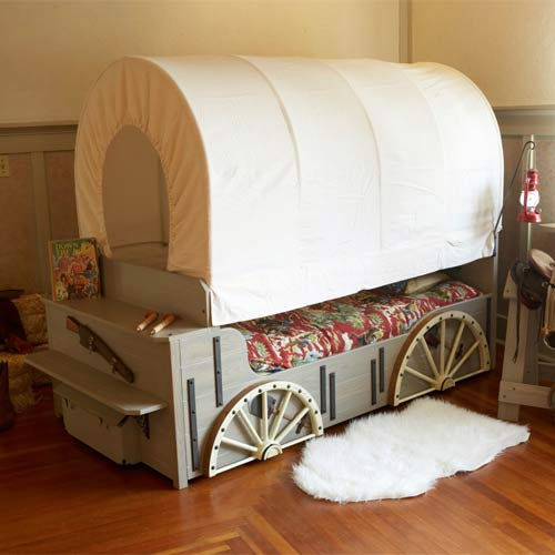 kids wild west cover wagon bed theme beds