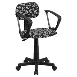 Printed Swivel Chair With Arms