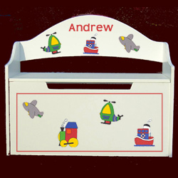 Personalized Handpainted Transportation Toy Box