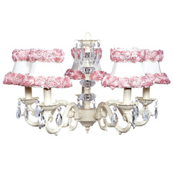 Ring of Roses 5 Arm Glass Turret Chandelier