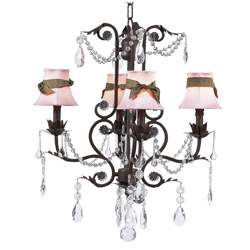 Brown Sash Mocha 4 Arm Valentino Chandelier