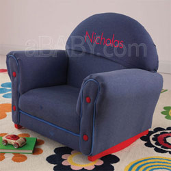 Upholstered Denim Rocker with Slip Cover