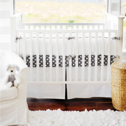 Personalized White Pique 3 Piece Crib Bedding with Trim