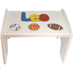Personalized Sports Wooden Puzzle Stool