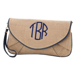 Personalized Burlap Clutch