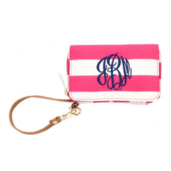 Personalized Striped Smartphone Wristlet