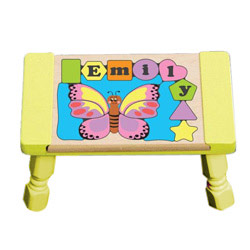 Personalized Butterfly Puzzle Stool