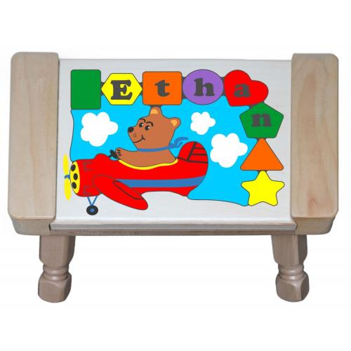 Personalized Bear Plane Puzzle Stool Kids Step Stools