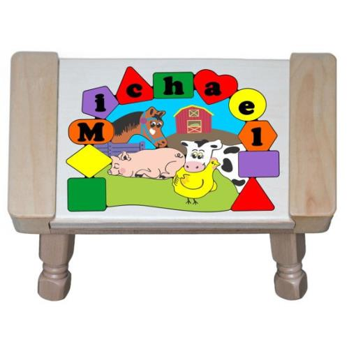 Personalized Farm Animals Puzzle Stool Personalized Kids